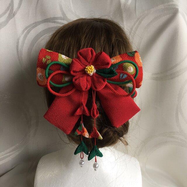 赤い椿のリボンの髪飾りセット(卒業式・袴・ちりめん細工)の画像1枚目