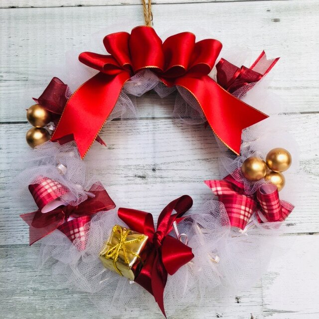 *リボンリース★クリスマス ホワイトVer.*の画像1枚目