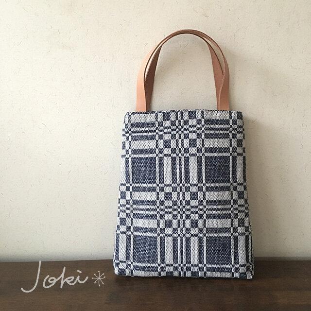 bag[手織りAライン手提げバッグ]ネイビーの画像1枚目