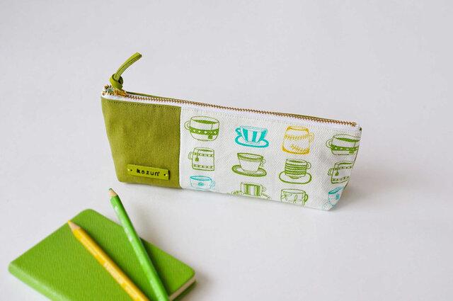 一点もの!デザイナーズ生地で作ったマグカップ柄のペンケース・本革使用(うぐいす色の帆布)の画像1枚目