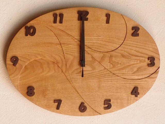 無垢の木の電波掛け時計 くり 0061の画像1枚目