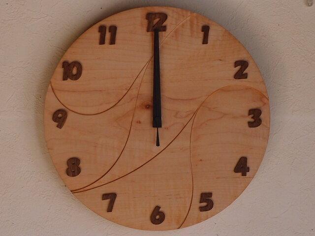 無垢の木の電波掛け時計 かえで 0010の画像1枚目