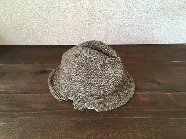 リメイク ネズミにかじられた 中折れハット ハリスツイード イギリス製 帽子の画像1枚目