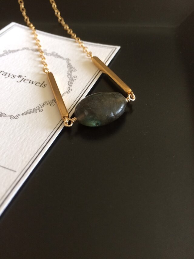14kgf Labradorite Oval necklaceの画像1枚目