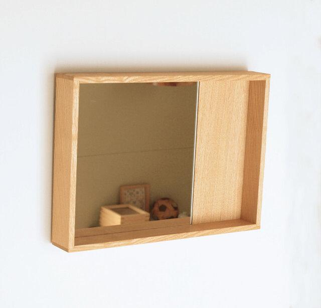 木製 箱鏡 タモ材1の画像1枚目