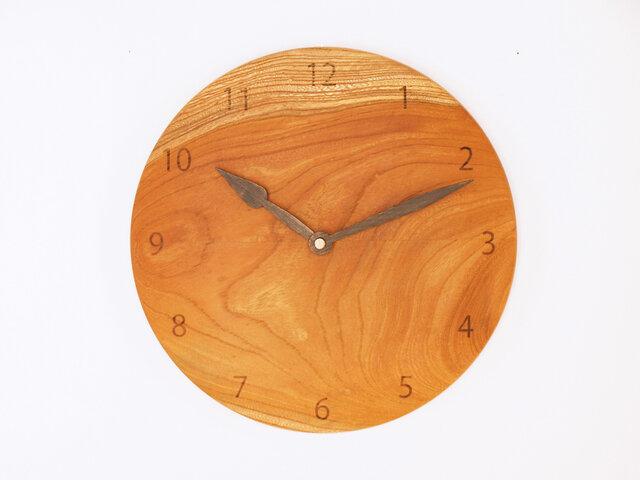 木製 掛け時計 丸型 欅材46の画像1枚目