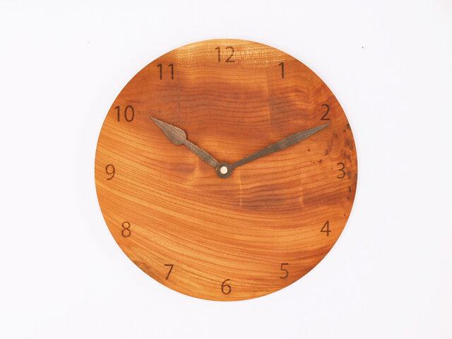 木製 掛け時計 丸型 欅材47の画像1枚目