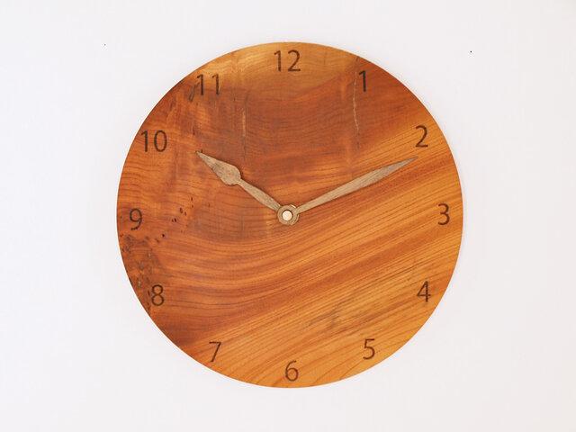 木製 掛け時計 丸型 欅材48の画像1枚目