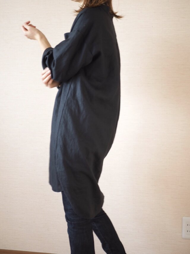 リネンロングシャツ ブラックの画像1枚目