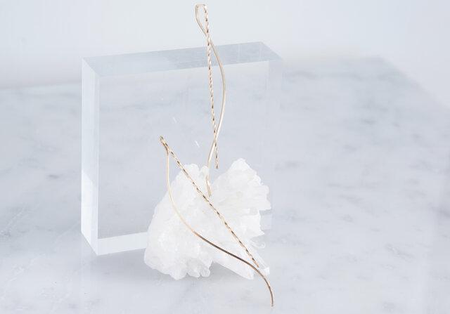【Minimalism】14KGF Earrings,Spiral -A-の画像1枚目