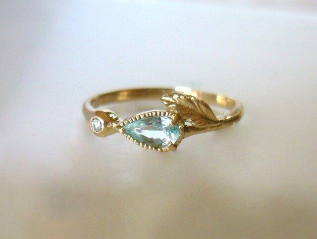 パライバトルマリンとダイヤのK14の指輪の画像1枚目