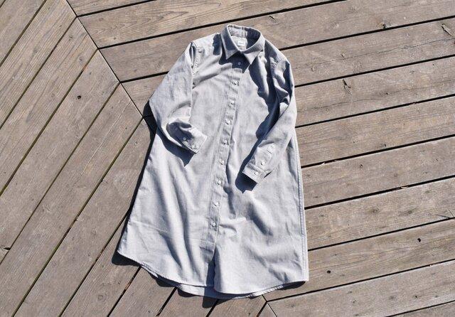 残り1枚 『黒板』 shirt onepiece  播州織 ストライプシャツワンピースの画像1枚目