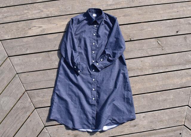 『warm blue』 shirt onepiece  播州織 シャツワンピースの画像1枚目