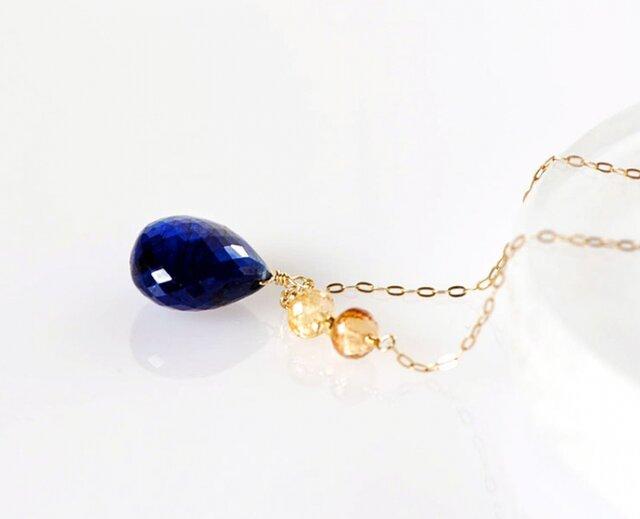 極上品 大粒[K10YG]ブルーサファイア インペリアトパーズ・ネックレスの画像1枚目