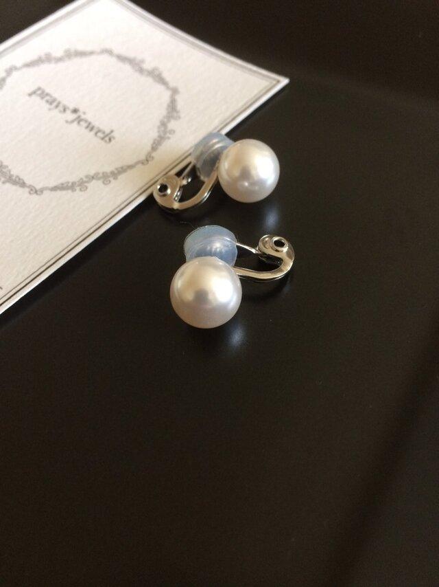 10mm ソフトタッチ痛みなくしっかりとホールドのイヤリング!basic pearls earringsの画像1枚目
