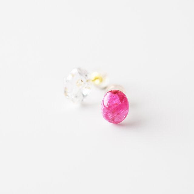 天然石ピアス/スピネル&ハーキマーダイヤモンドの画像1枚目