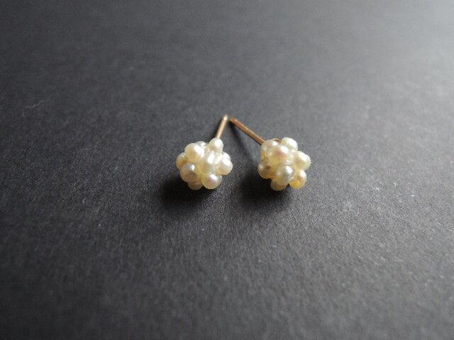 ◆ pearl ◆ パールビーズの小さなピアスの画像1枚目