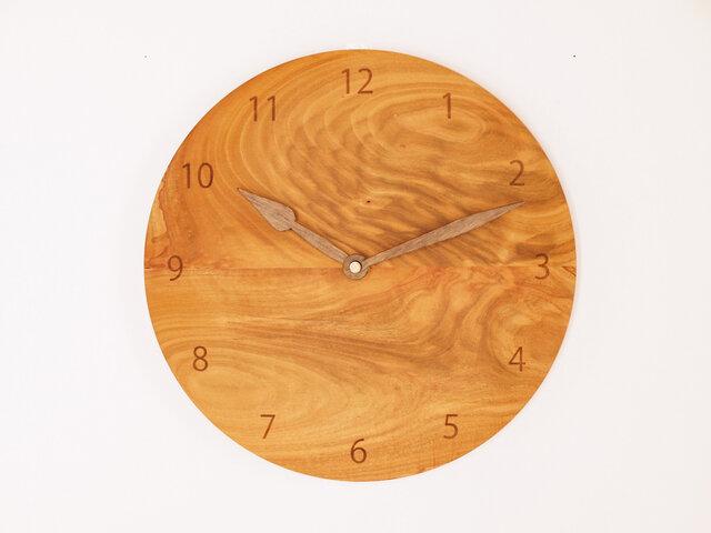 木製 掛け時計 丸型 桜材9の画像1枚目