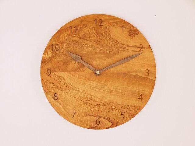木製 掛け時計 丸型 桜材10の画像1枚目