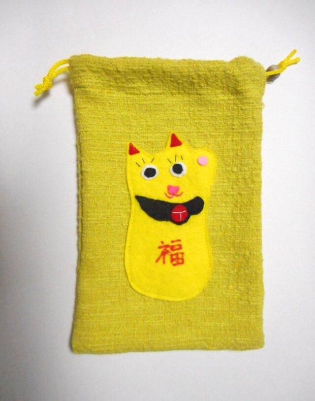 招き猫の巾着袋の画像1枚目