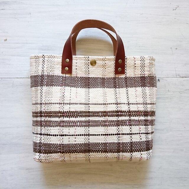 裂き織りのバッグM バニラ×チョコの画像1枚目