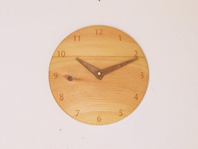 木製 掛け時計 丸型 松材2の画像1枚目