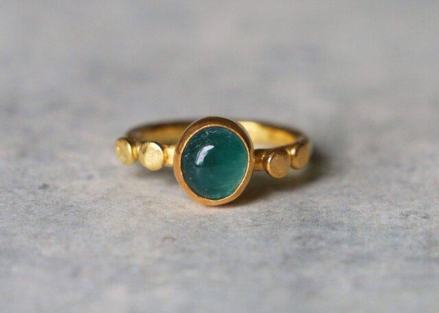 古代スタイル*天然グランディディエライト 指輪*10号 GPの画像1枚目