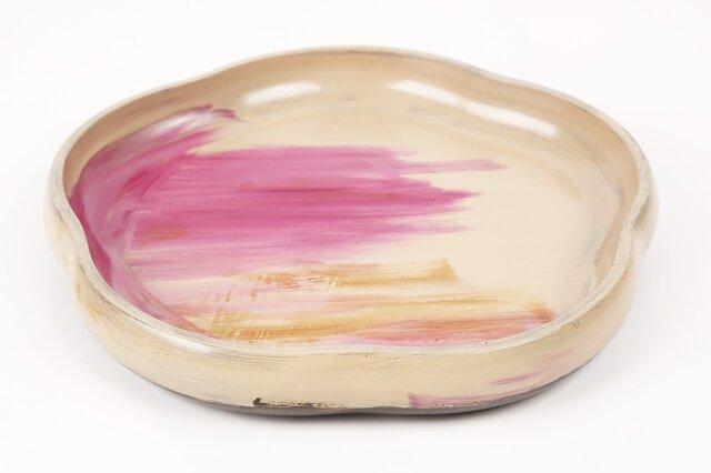 梅型色刷毛目皿(七寸)の画像1枚目