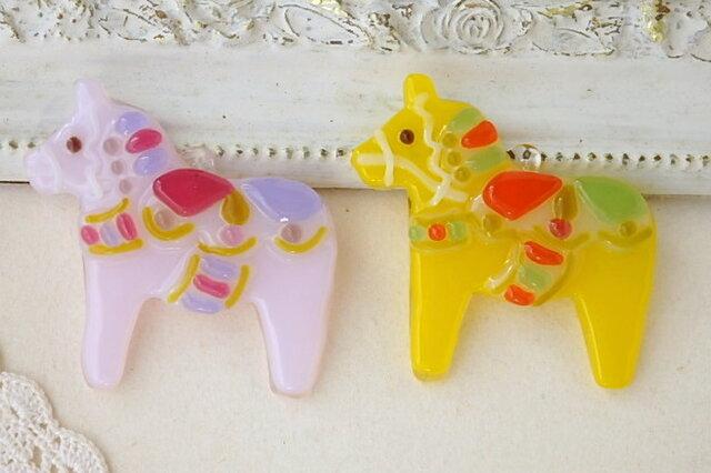 *mさまオーダー品*ガラスのダーラナホースさん・pink&yellow♪の画像1枚目