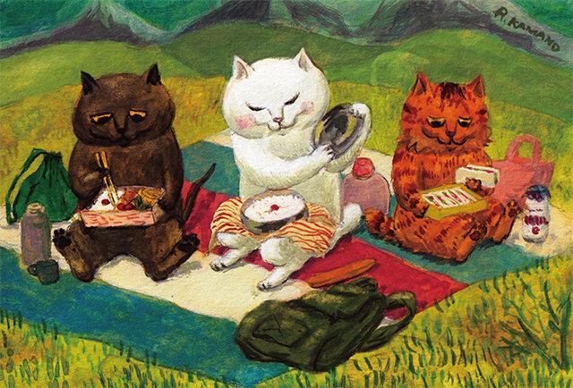 カマノレイコ オリジナル猫ポストカード「ひのまる弁当」2枚セットの画像1枚目