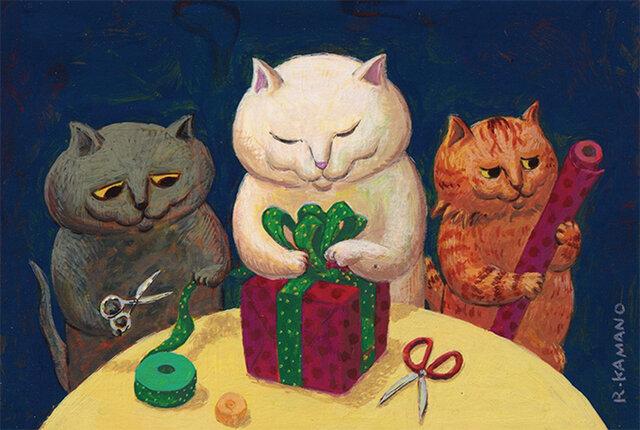 カマノレイコ オリジナル猫ポストカード「プレゼント」2枚セットの画像1枚目
