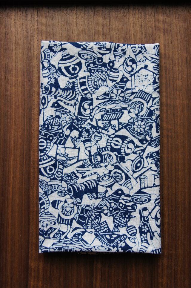 天然藍の型染め手拭い  日本玩具の画像1枚目