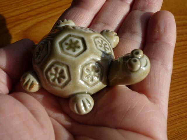 ご長寿 縁起物亀さん(緑)の画像1枚目