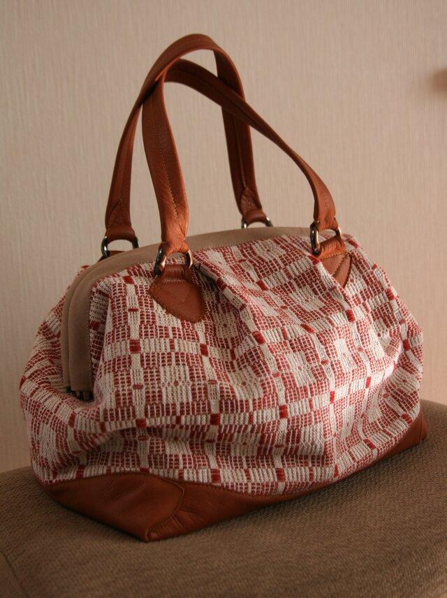牛革×北欧手織りバッグ(赤)の画像1枚目