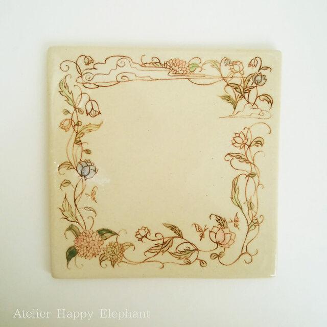 植物模様の陶板プレートの画像1枚目