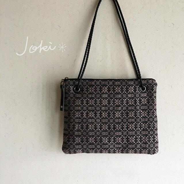 bag[手織りオーバーショット織  サコッシュ]ブラック×ベージュの画像1枚目