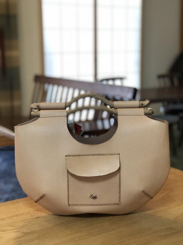 本革手縫いの ubud bag #B(ヌメ)の画像1枚目