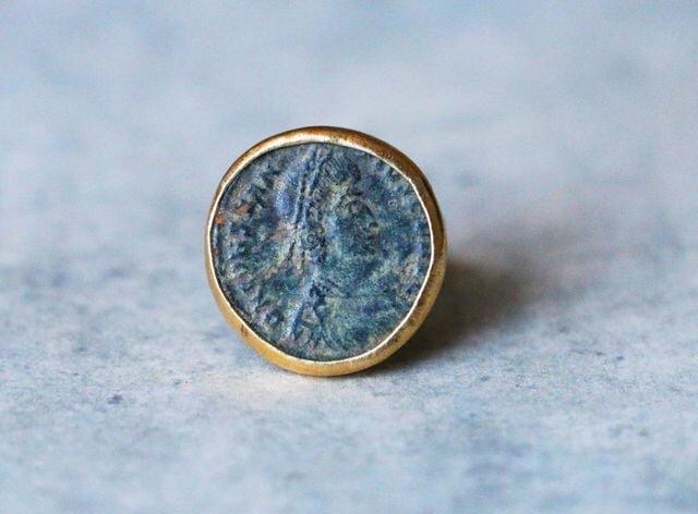 古代スタイル*古代ローマン・コイン 指輪*9号 SV ユニセックスの画像1枚目