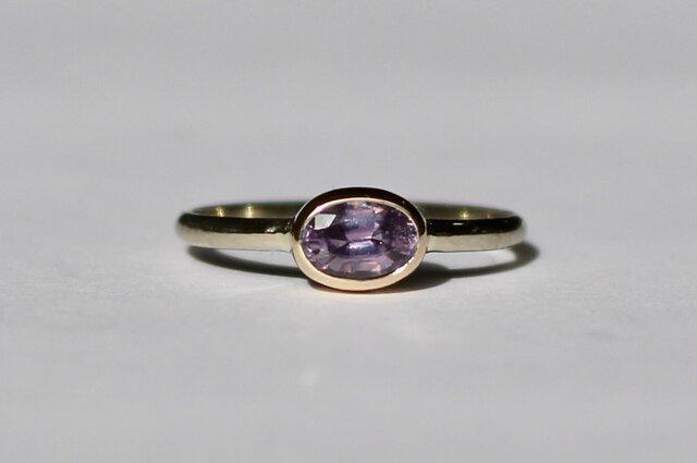 No heat Purple Sapphire ring / K10YG & WGの画像1枚目