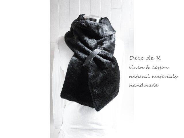 アンゴラ ウールのマフラー 黒の画像1枚目