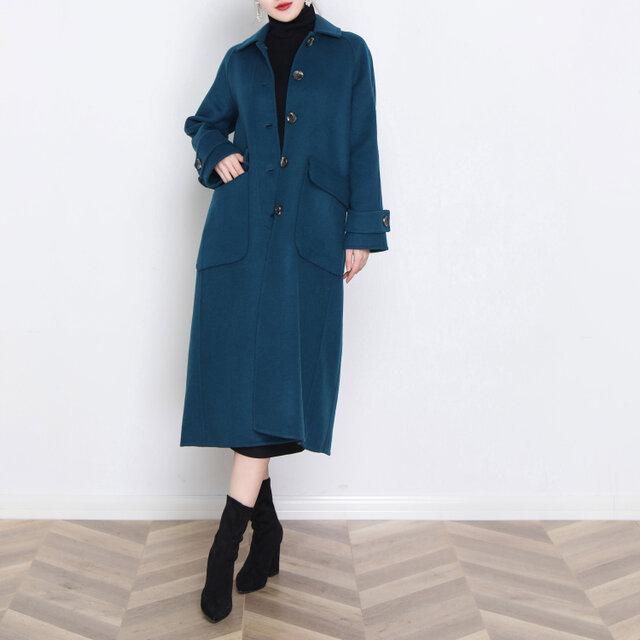 16色 手縫い カシミヤウール リバーシブル生地 ラグラン袖ロングコート☆オーダーメイド可<新作>の画像1枚目