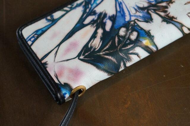 絞り染めLEATHERお財布bag-#navy3-color《送料無料》の画像1枚目