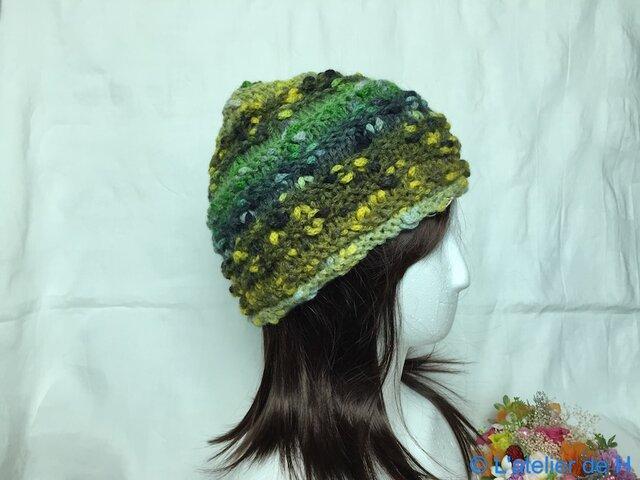★☆手編みのふんわりニット帽子〜カラフル♪☆★の画像1枚目