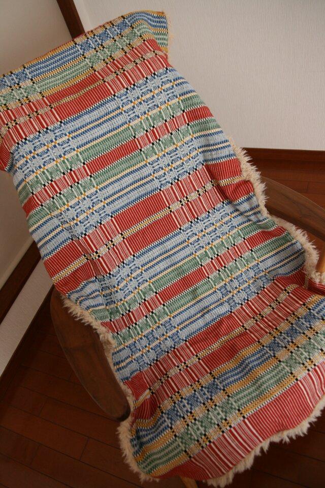 北欧手織りの敷物(赤)(ロング)の画像1枚目