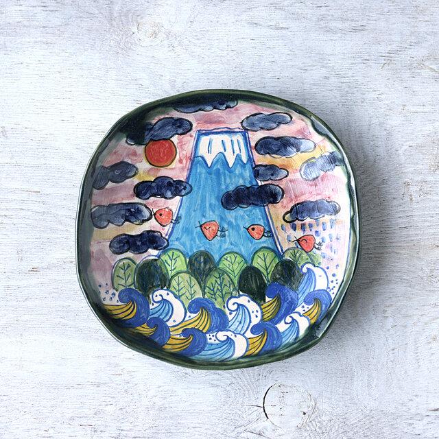 青い富士山の深皿の画像1枚目