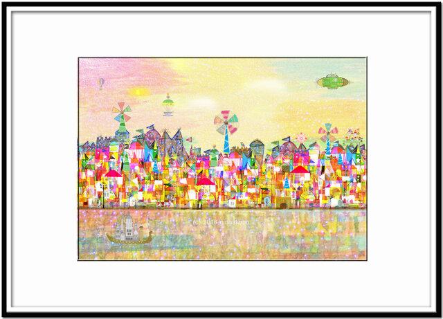 風車のある町 ほっこり癒しのイラストa4サイズポスターno599 銀河