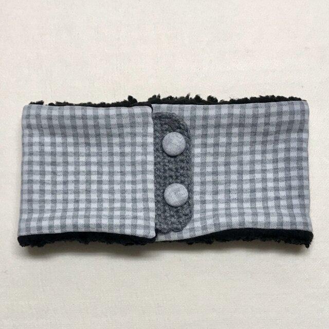 【即納可能】ボタンタイプ☆キッズサイズ☆ギンガムチェック柄+ふわふわシープボアのネックウォーマーの画像1枚目