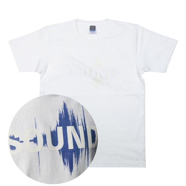 音楽 SOUND ヘヴィーウェイト Tシャツ 光で反応!青サウンドファイルが見える ユニセックスXS〜XLサイズの画像1枚目