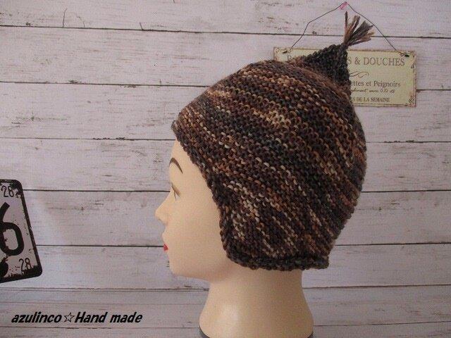 手編み帽子 幼児用 Opal Regenwald 9462 Garter Ear Hlap Hat 48cmの画像1枚目