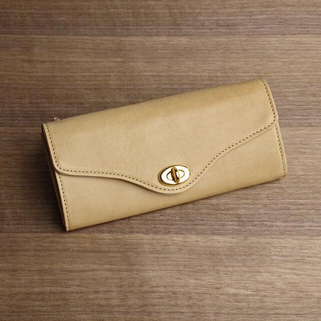【送無】一点物!革の長財布 ---ひねり金具がかわいい人気の形 [クチナシ色]の画像1枚目